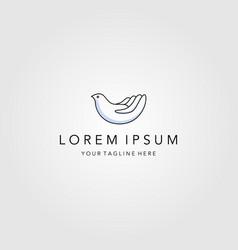 Line art bird on hand logo minimalist emblem vector