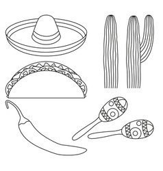 Line art black and white 5 mexican elements vector