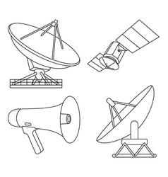 Line art black white 4 telecommunication elements vector
