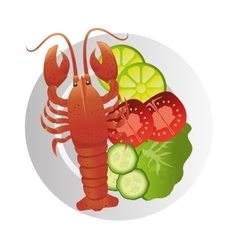 lobster sea food plate vector image