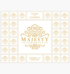 Luxurious letter logo set with classic ornament vector