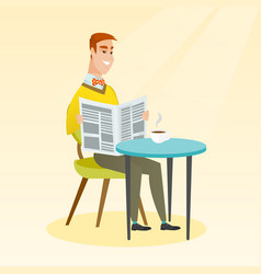 Man reading a newspaper and drinking coffee vector