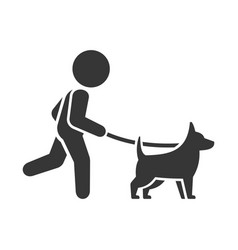 man walking dog icon on white background vector image