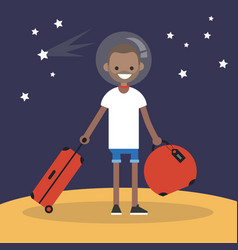Mars colonization young black character moving vector