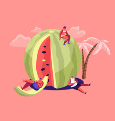 miniature characters in swimsuit relaxing on huge vector image