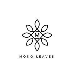 Monogram floral leaves initial letter type m logo vector
