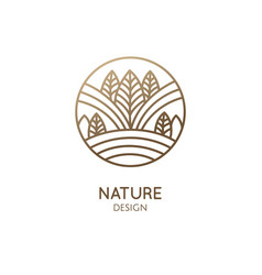 Nature linear logo forest landscape vector