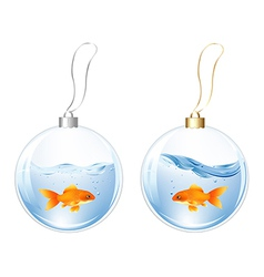 New Year Balls With Fishes In Water vector image
