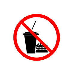 no food and drink sign silhouette hamburger in vector image