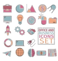 office and bussines icons four colors vector image