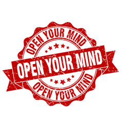 open your mind stamp sign seal vector image