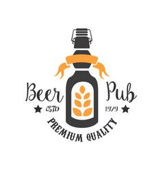 Original logo template for pub colorful emblem vector