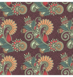 Ornate seamless flower paisley design background vector