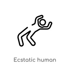 Outline ecstatic human icon isolated black simple vector