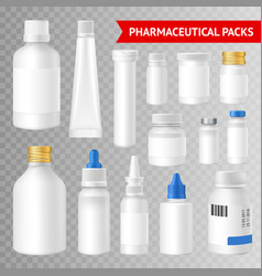 Pharmaceutical packaging realistic vector