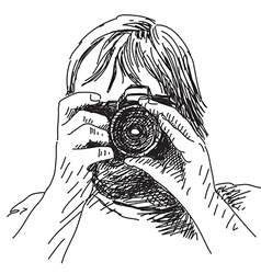 Photographer with photo camera vector