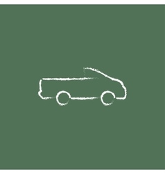 Pick up truck icon drawn in chalk vector image