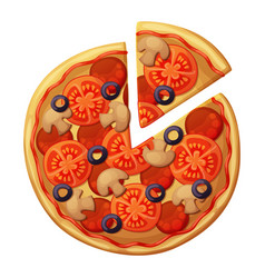 pizza top view muchrooms black olives sausages vector image