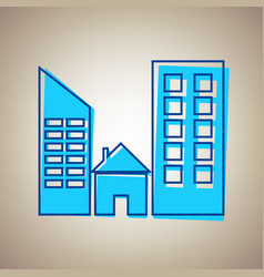 real estate sign sky blue icon with vector image