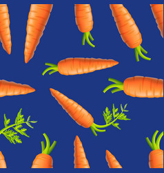 realistic detailed 3d carrots seamless pattern vector image
