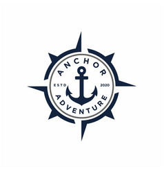 Retro anchor with compass stamp badge emblem logo vector