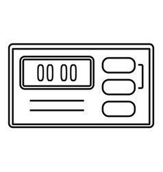 retro digital clock icon outline style vector image