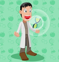 Scientist Cartoon Character Cute Chromosome vector
