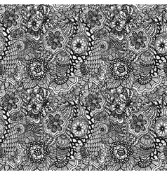 seamless hand drawn seamless flower pattern vector image