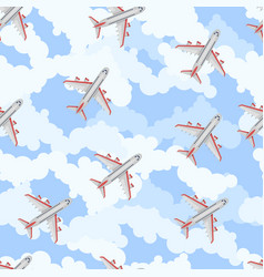 seamless pattern airplane in sky flat style vector image