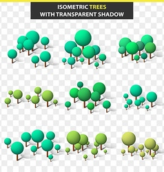 Set 3D trees in isometry and transparent shadow vector