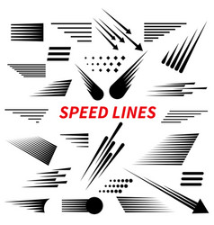 set different simple black speed line vector image