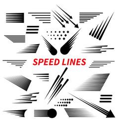 Set different simple black speed line vector