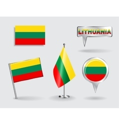 set lithuanian pin icon and map pointer flags vector image
