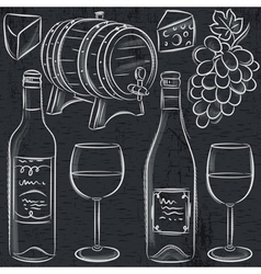 Set of glases and bottles for wine on blackboard vector