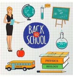 Set of school teaching design elements vector image