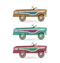 Set of three vintage toy pedal car vector