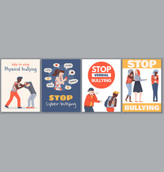 set posters stop bullying vector image