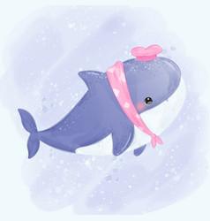 Shark in watercolor vector
