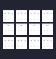 simple and clean 2018 calendar template vector image