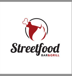 simple meat grill logo and bar design template vector image