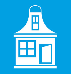 Small house icon white vector