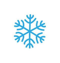 Snowflake icon blue silhouette snow flake sign vector