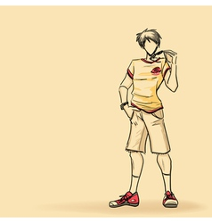 Sporty man in shorts vector