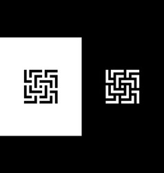 Square labyrinth maze with initial letter l logo vector