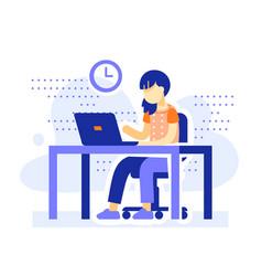 Student sitting desk school girl doing homework vector