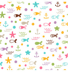 summer sea seamless pattern with fishes anchors vector image