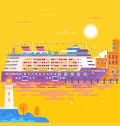 summer travel cruise ship sea landscape vector image