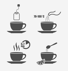 Tea preparation instruction isolated vector