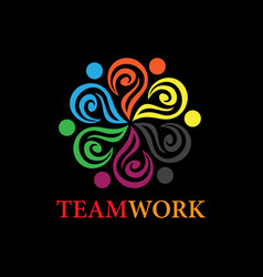 team work business logo vector image