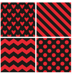 tile pattern set with red and black stripes heart vector image